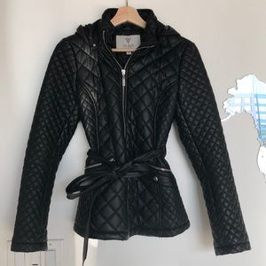 Guess Black Quilted Faux Leather Jacket with Hood